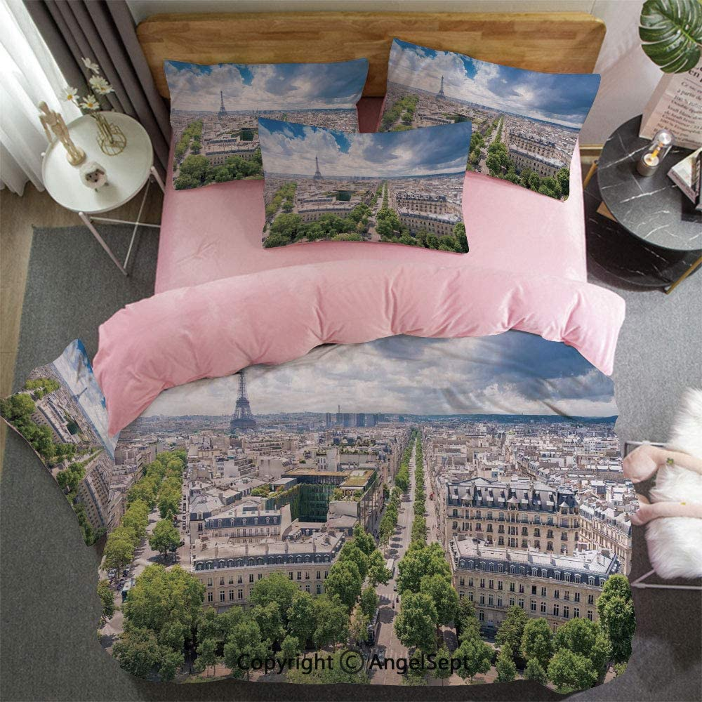 Custom Bedding Set King Size Duvet Cover Set 4 Pcs Aerial Paris Eiffel Tower French Heritage Culture Architecture 1 Duvet Cover,1 Flat Sheet Matching 2 Pillowcase for Couple Light Blue Cream Green
