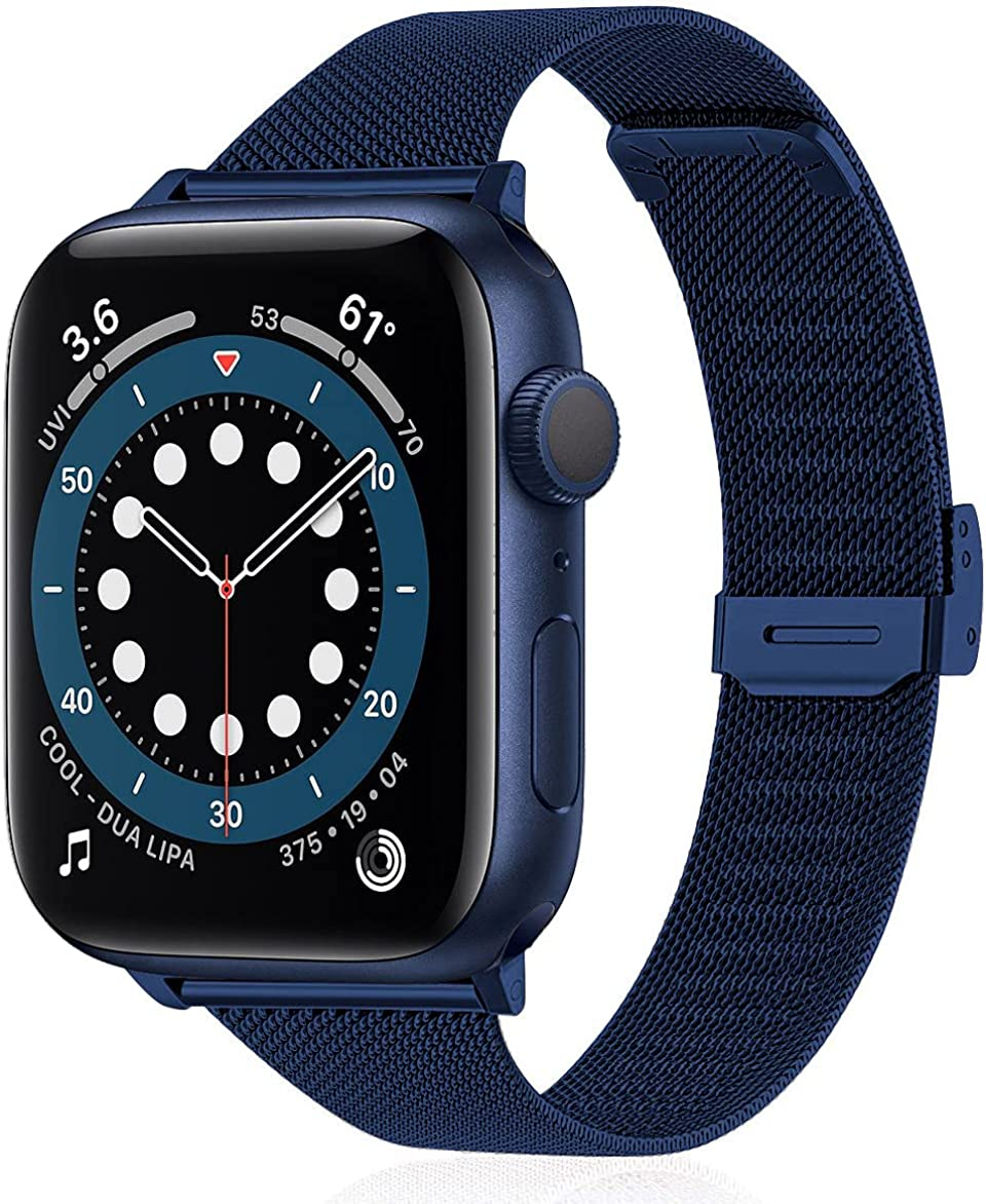 Stainless Steel Metal Mesh Watch Band Compatible with Apple Watch Band 38mm 40mm 42mm 44mm, Replacement Wristband Adjustable Strap Compatible with iWatch Series 6/5/4/3/2/1 SE for Men Women