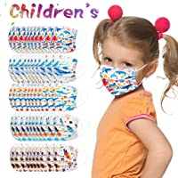 [US in Stock] 50Pcs 𝘔𝘢𝘴𝘬𝘴 3-Layer Disposable MultiPattern Masks Mouth Scarf, Half Face Mouth Covers, Windproof Sunscreen, Ear-Loop Bandana Ideal for Kids Everyday Use (5 Colors, A)