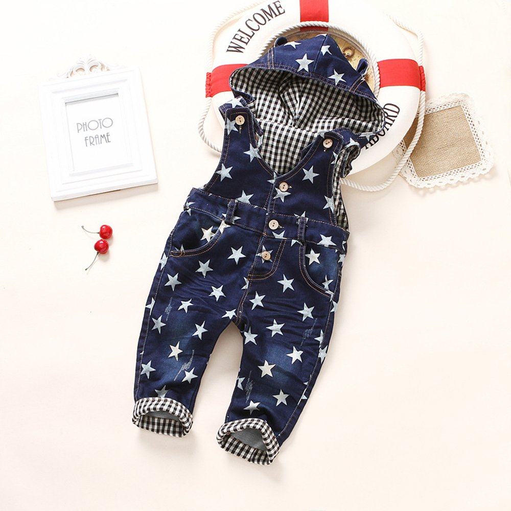 Kidscool Baby /& Little Boys//Girls Star Print Cardigan Denim Hooded Overalls