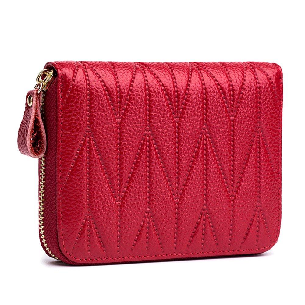 imeetu Women/men RFID Blocking Leather Credit Card Holder case Accordion Wallet 24 Slots Purses with Zipper Pocket(Wine Red) by imeetu (Image #1)