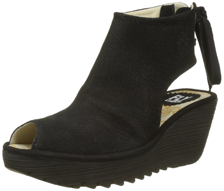 FLY London Womens Ypul Nubuck Wedge Heel Open Toe Platform Summer Sandal B077C3VVVM 38 M EU|Black