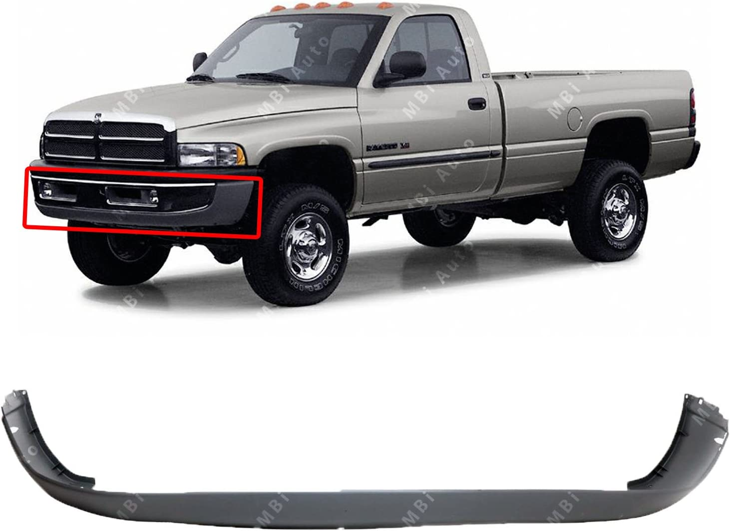 Front Bumper Cover Compatible with 1994-2001 Dodge Ram 1500//Ram 2500 1994-2002 Lower Old Body Style
