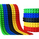 KIDS BLOCK TAPE - 5 Colour Pack - Premium Quality Silicone - 2 Stud - 15 feet Total - Red/Green/Yellow/Blue/Black Self Adhesive Toy Building Block Tape (Compatible with Lego Brand Products)