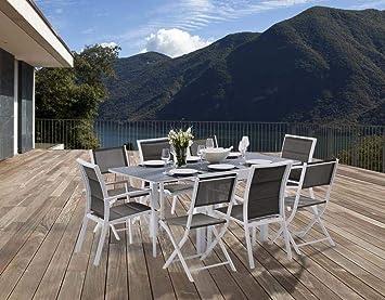 Salon de Jardin MODULO 8 - 1 table + 4 fauteuils + 4 chaises - Blanc ...