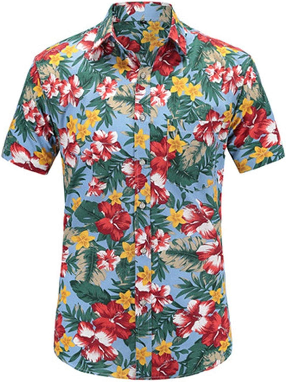 Big Hit Short Sleeve Men Shirt Hawaiian Casual Shirt Summer Pattern Cotton Shirts