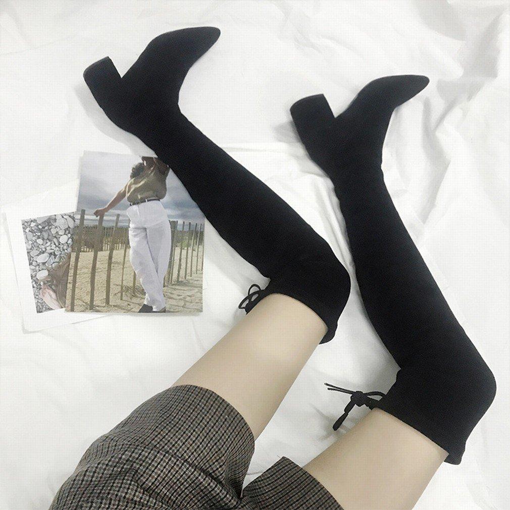 ZH Winter Damenschuhe Damenschuhe Damenschuhe Plus Samt Dick mit Stiefeln Western Sw Spitz High Heel Spitze Kniescheiben 815851