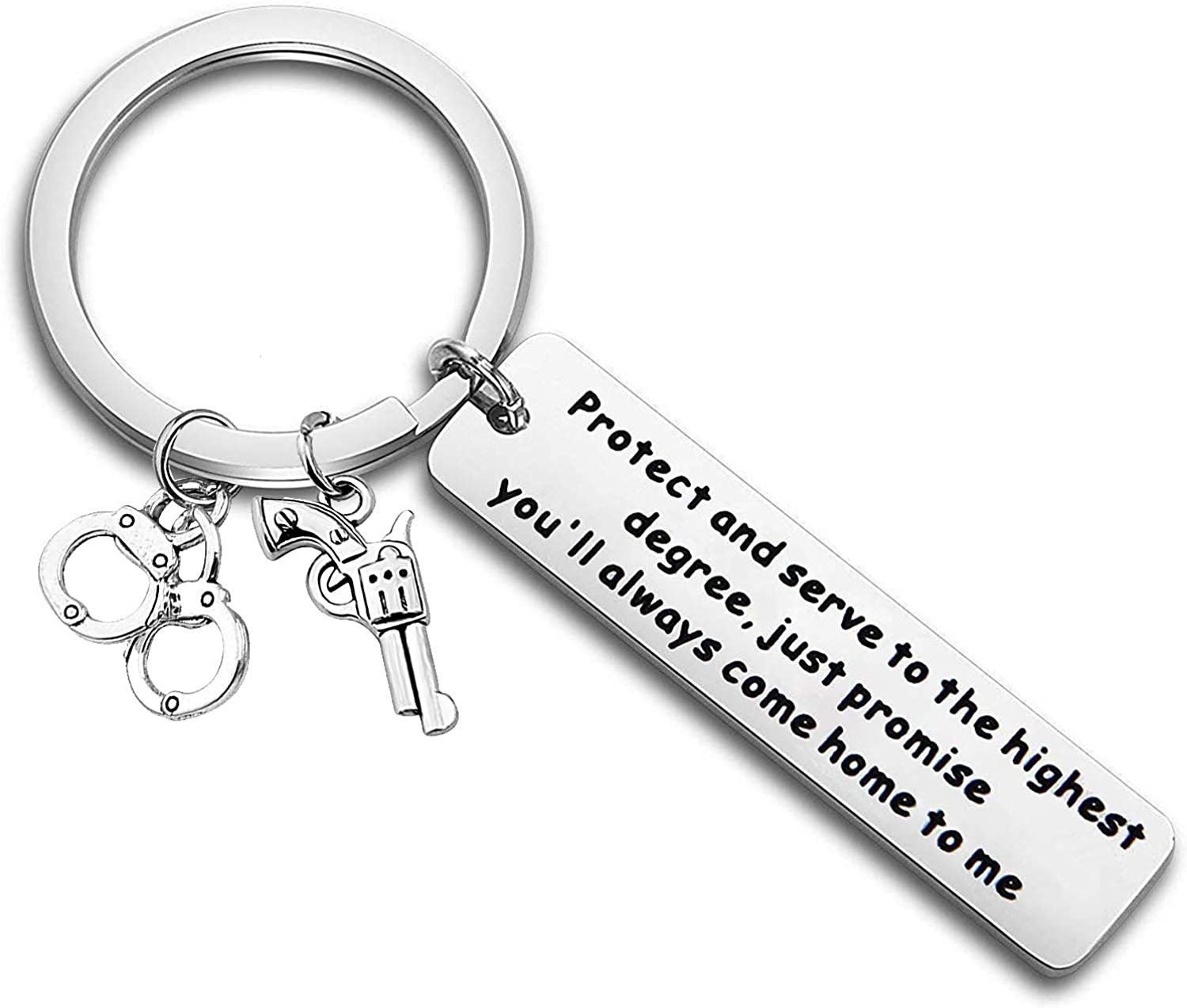 Gzrlyf Police Officer Keychain Protect and Serve to The Highest Degree Always Come Home to Me Deputy Sheriff Gift