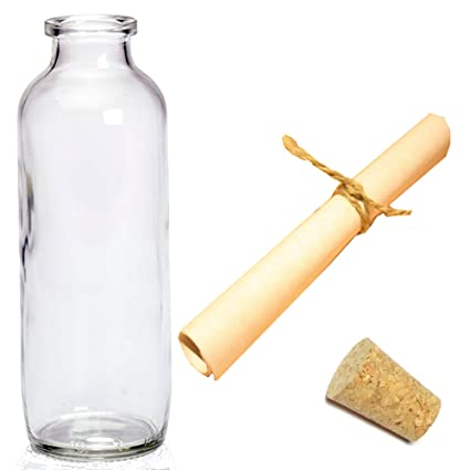 Large Clear Glass Message Bottle With Cork A5 Parchment Paper