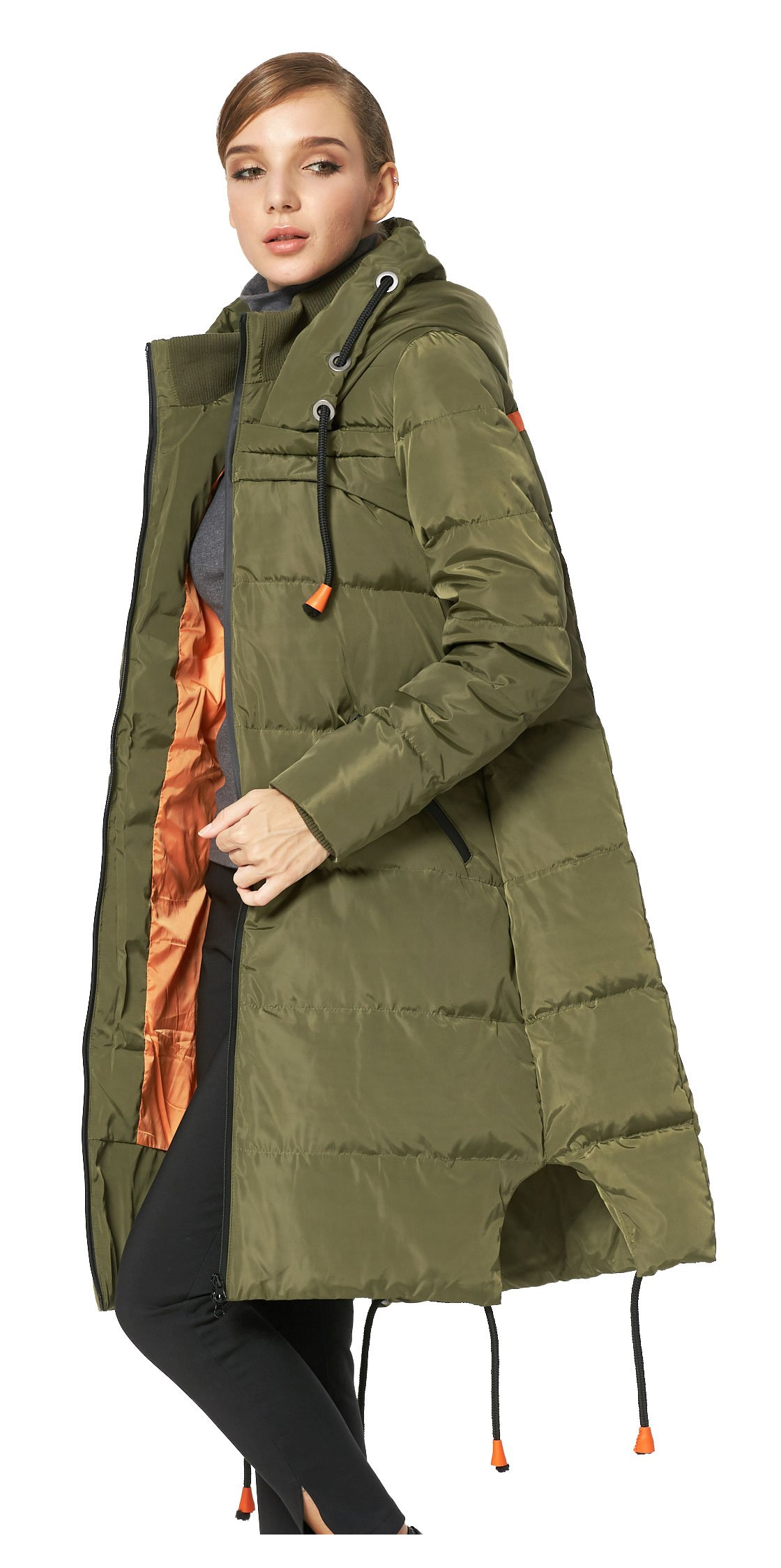 Orolay Women's Thickened Contrast Color Drawstring Down Jacket Hooded ArmyGreen S by Orolay (Image #6)