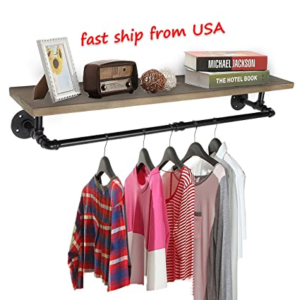 Amazoncom Kingso Industrial Pipe Clothing Rack Pine Wood Shelving