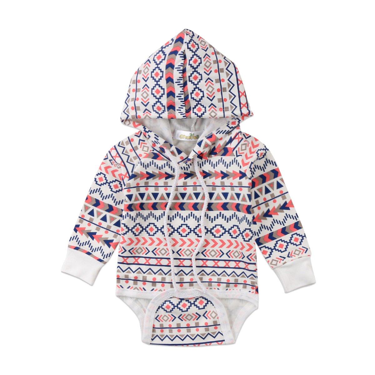Newborn Baby Girl Boy Ethnic Geometry Pattern Hoodie Romper Long Sleeve Sweatshirt