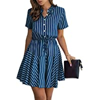KIRUNDO Women's Summer Plaid Print Mini Dress Short Sleeves Button Down High Waist A Lined Dress with Belt