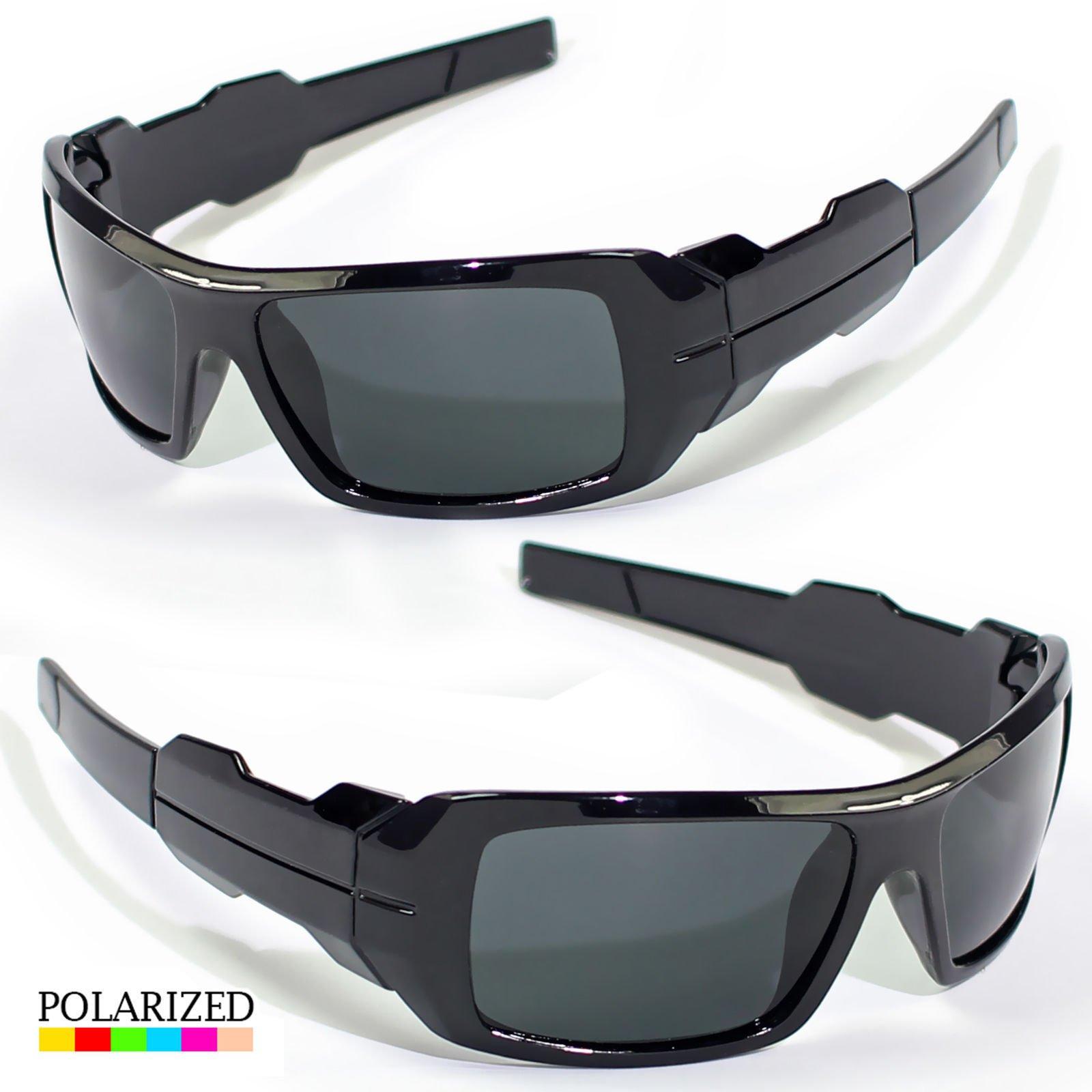New Black Polarized Wrap Around Mens Glasses Sports Eyewear Driving Sunglasses