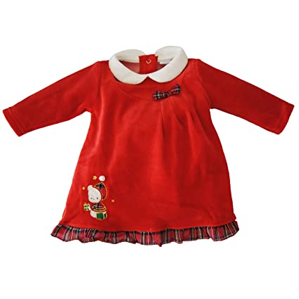 545a34d5e242 Abito Natale per neonata ciniglia con orsetto Ellepi -Rosso-12 M   Amazon.it  Prima infanzia