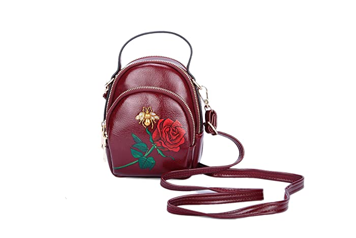 9c7a55db9c67 Hand Painted Rose Small Vegan Red Leather Crossbody Bag with 3 Zipper Top  Handle Bee Pin-Women Phone Purse Wallet Pouch for Travel Carry  All-Valentine s ...