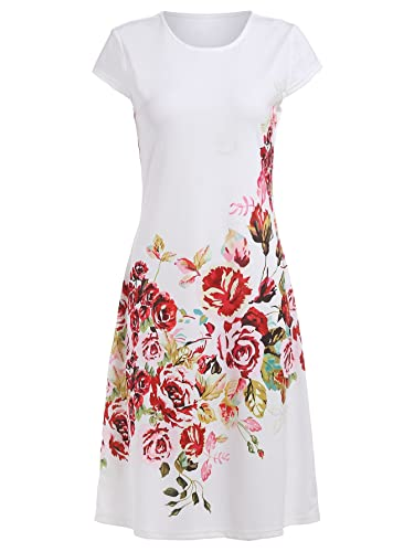 ROMWE Women's Floral Print Short Sleeve Casual A Line Dress