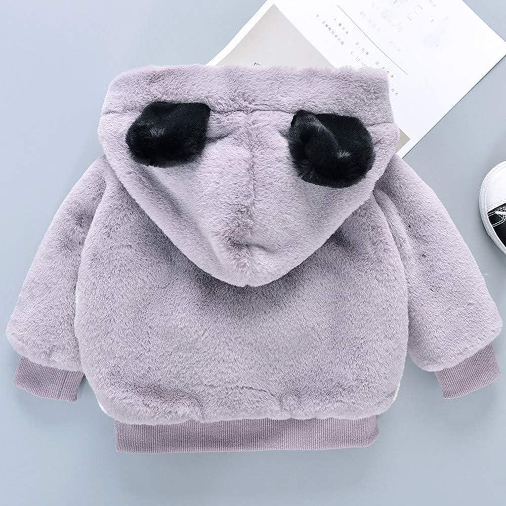 FORESTIME Cute Baby Boys Girls Bear Coat with Ear Fleece Thick Fur Jacket Hooded Winter Warm Zipper Outwear