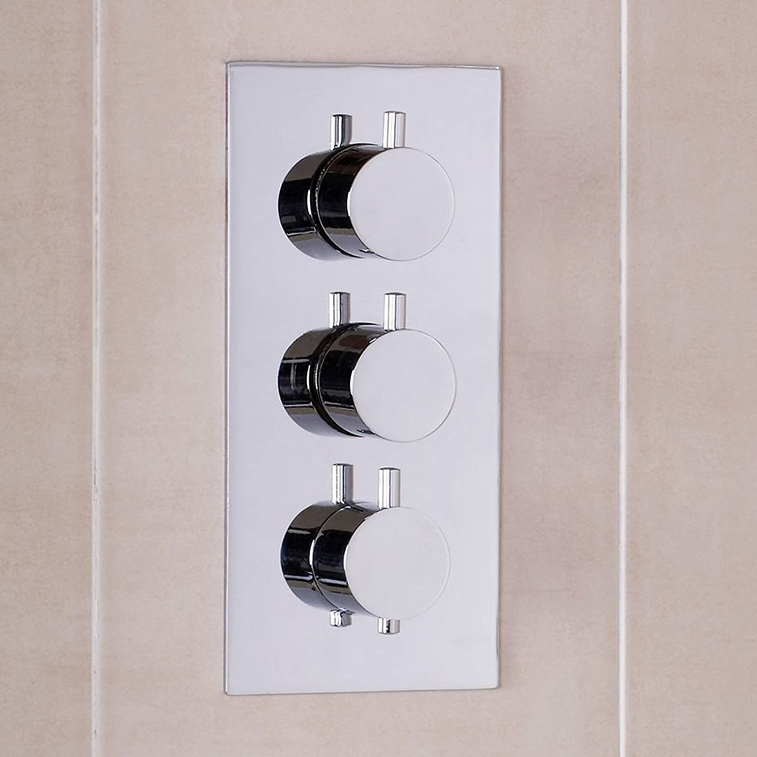 ENKI Concealed Thermostatic Shower Valve Mixer Tap Round 3 Dial 3 Way:  Amazon.co.uk: DIY U0026 Tools