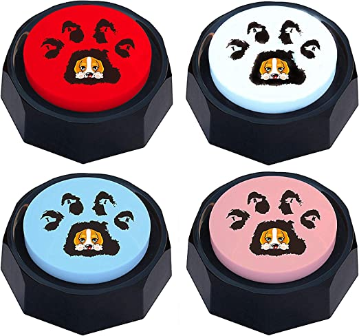 Z-DADA Set of 4, Dog Speech Training Buzzers, Recordable Buttons - Train Your Dog to Voice What They Need