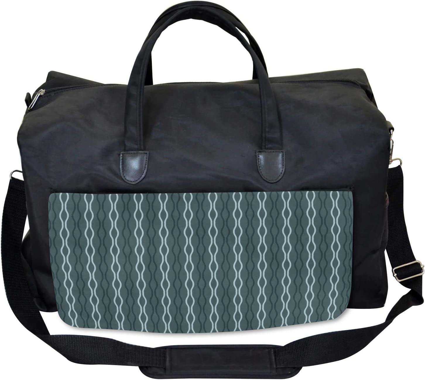Ambesonne Blue Gym Bag Under the Sea Wave Lines Large Weekender Carry-on