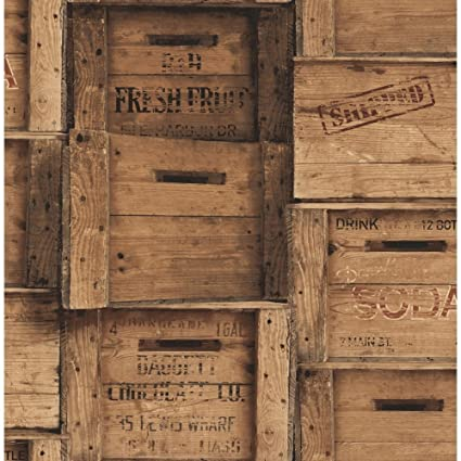 Efecto de madera papel pintado madera grano cajas Vintage antiguo marrón Fine Decor