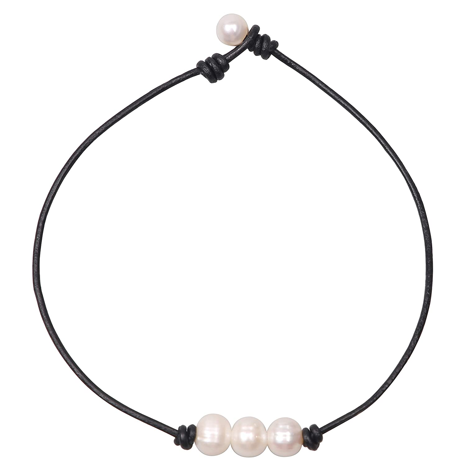 b46e08606f0f1 Charming Collection Women White 3 Cultured Freshwater Pearls Choker  Necklace on Genuine Leather Cord Knotted Jewelry