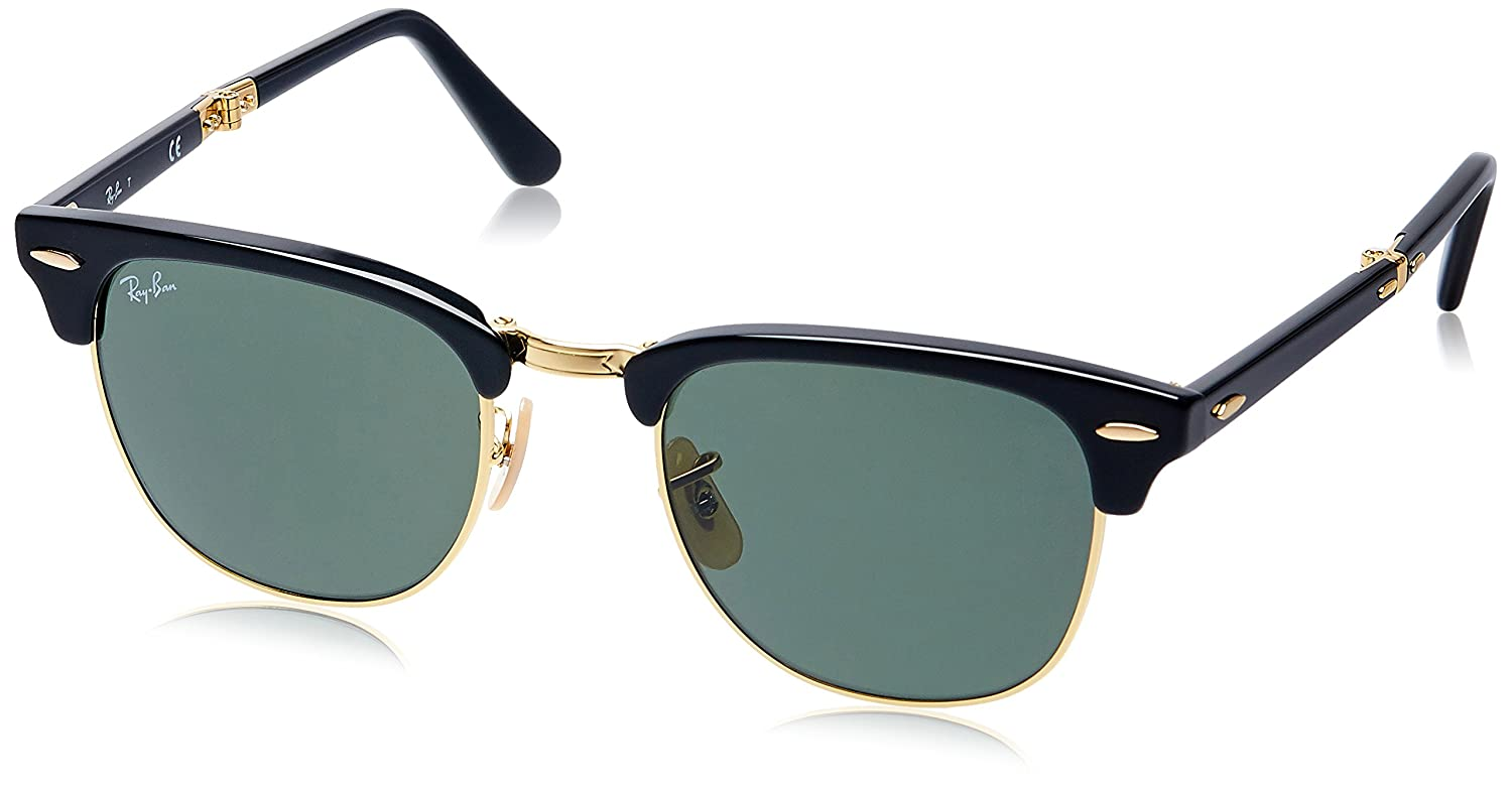 ray ban classic clubmaster 51mm sunglasses  amazon: ray ban unisex adult clubmaster folding 0rb2176 square sunglasses, black, 51 mm: ray ban: clothing
