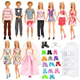 Barwa 23 Accessories for 11.5 Inch Girl and Boy Dolls: 7 Clothes Dresses + 10 Shoes for Girl Dolls + 3 Clothes for Boy Dolls + Shoe Rack