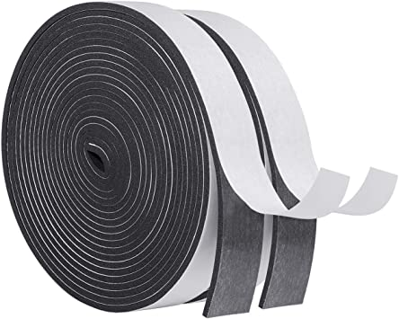 6.5 Ft X 2 Rolls 1 Wide X 3//4 Thick Total 13 Feet White Door Window Weather Stripping Self Adhesive Foam Tape High Density Foam Sealing Strip Window Insulation Weatherproof Gasket Tape