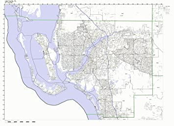 Map Of Lee County Florida.Amazon Com Lee County Florida Fl Zip Code Map Not Laminated Home
