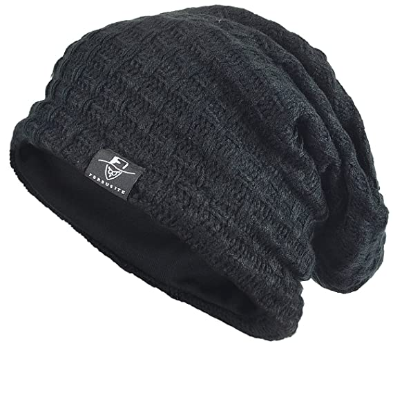 4762a0e1437 FORBUSITE Mens Slouchy Long Oversized Beanie Knit Cap for Summer Winter -  Black -  Amazon.co.uk  Clothing