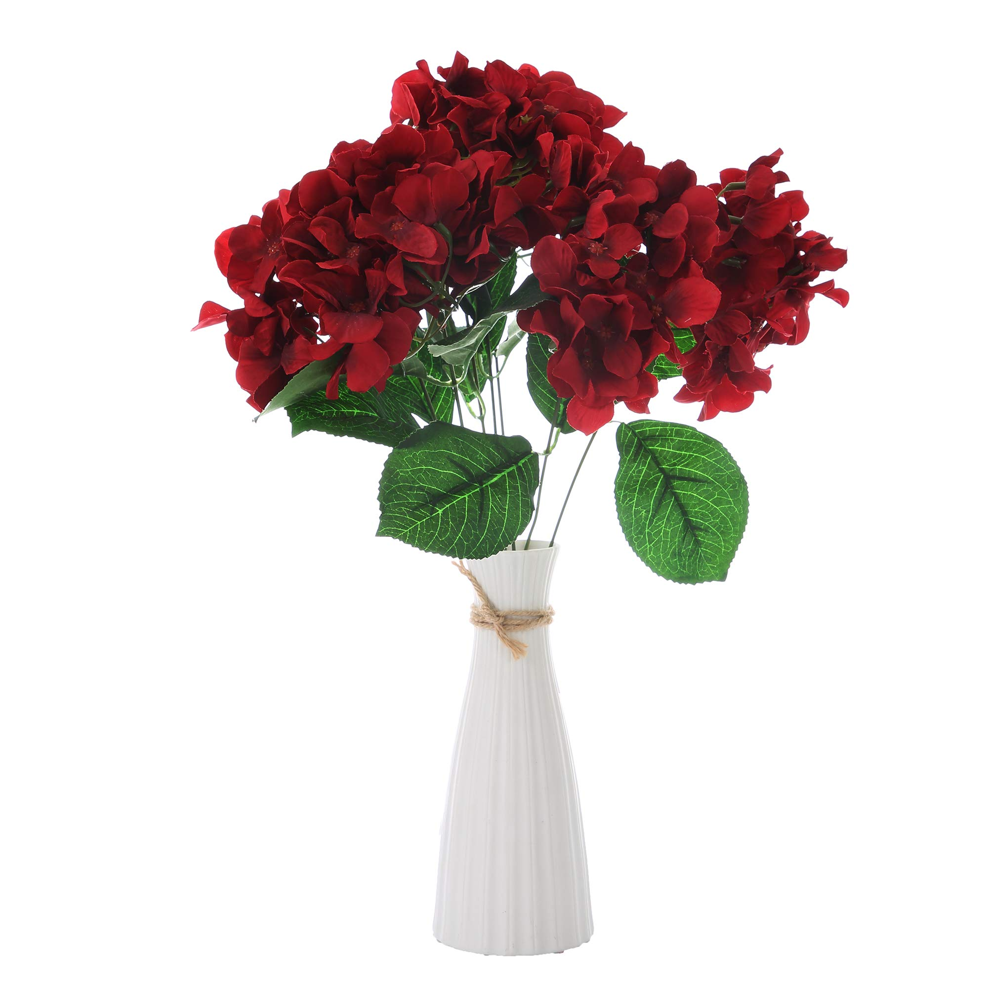 Felice Arts Artificial Flowers 18'' Silk 7 Big Head Hydrangea Bouquet for Wedding, Room, Home, Hotel, Party Decoration (Wine Red)