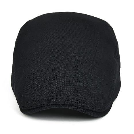 eb9825284d9 VOBOOM Men s Cotton Flat IVY Gatsby Newsboy Driving Hat Cap 039  (Black)(Size  Adjustalbe size  57-60cm( 7 1 8-7 1 2))  Amazon.co.uk   Clothing