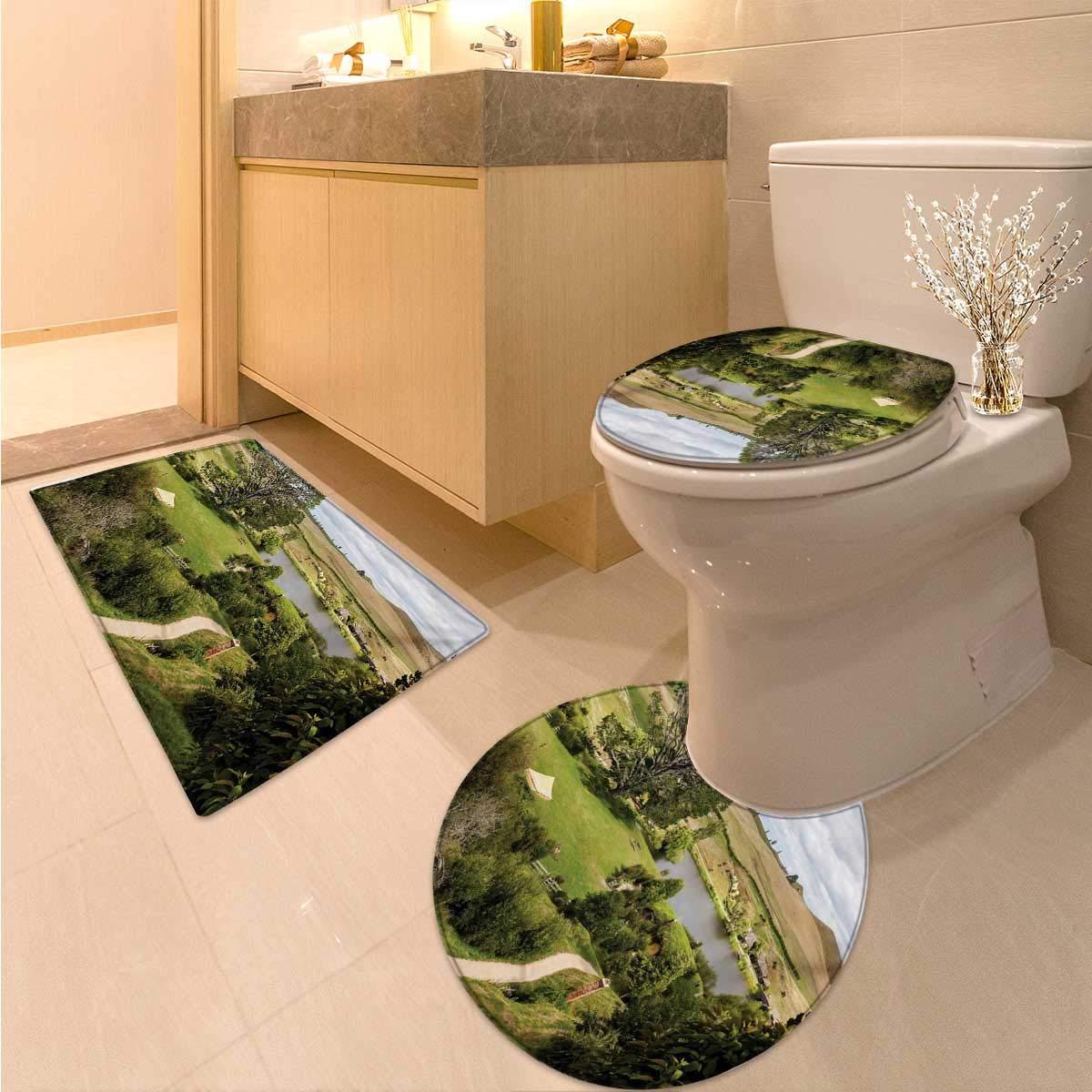 Anhuthree Hobbits bathmat Toilet mat Set Overhill Matamata New Zealand Movie Set Hobbit Land Village Movie Set Image Toilet Carpet Floor mat Green Brown