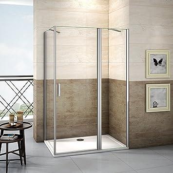 195 cm Mampara de ducha puerta oscilante esquina. 6 mm Nano Cristal ducha puerta de ducha con aspecto pared PX3: Amazon.es: Bricolaje y herramientas