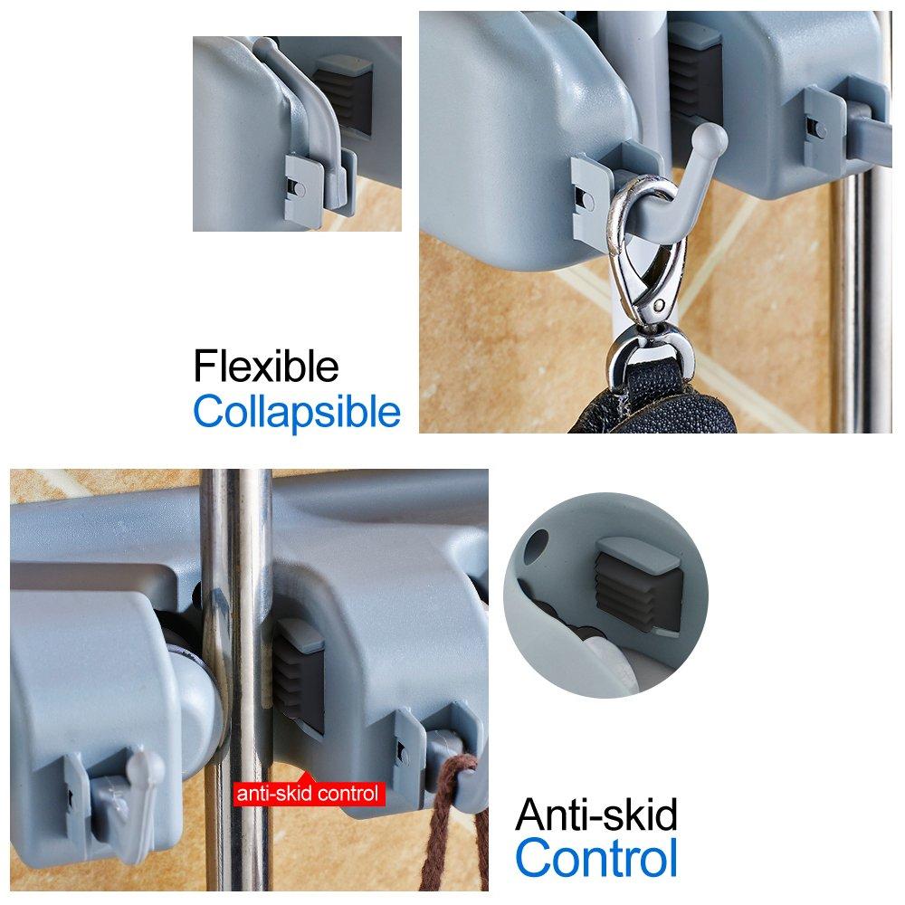 RockBirds Broom Mop Holder, T56 Multipurpose Wall Mounted Organizer, Ideal Broom Hanger Solution for Kitchen, Garage, Warehouse (5 Position with 6 Hooks)