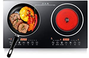 Double Induction Cooker and Ceramic-Cooker Countertop 1200W + 1400W Portable In-fr-ar-ed Burner Double Digital Burner Cooktop Induction Cooker Works w/ Iron Pot Pan