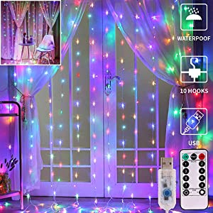 GHodec Curtain Lights String,USB Powered Curtain Fairy Lights,(300 LED 9.8Ftx9.8Ft) IP64 Waterproof Twinkle Wall Lights for Bedroom,Wedding,Wall Decorations