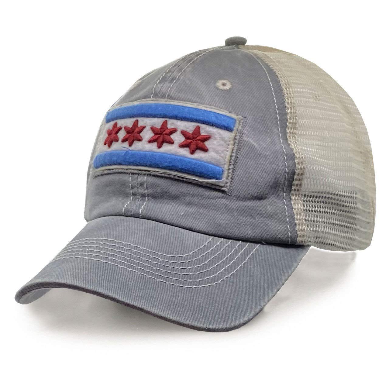 ThirtyFive55 City of Chicago Vintage Mesh Adjustable Flag Hat Gray