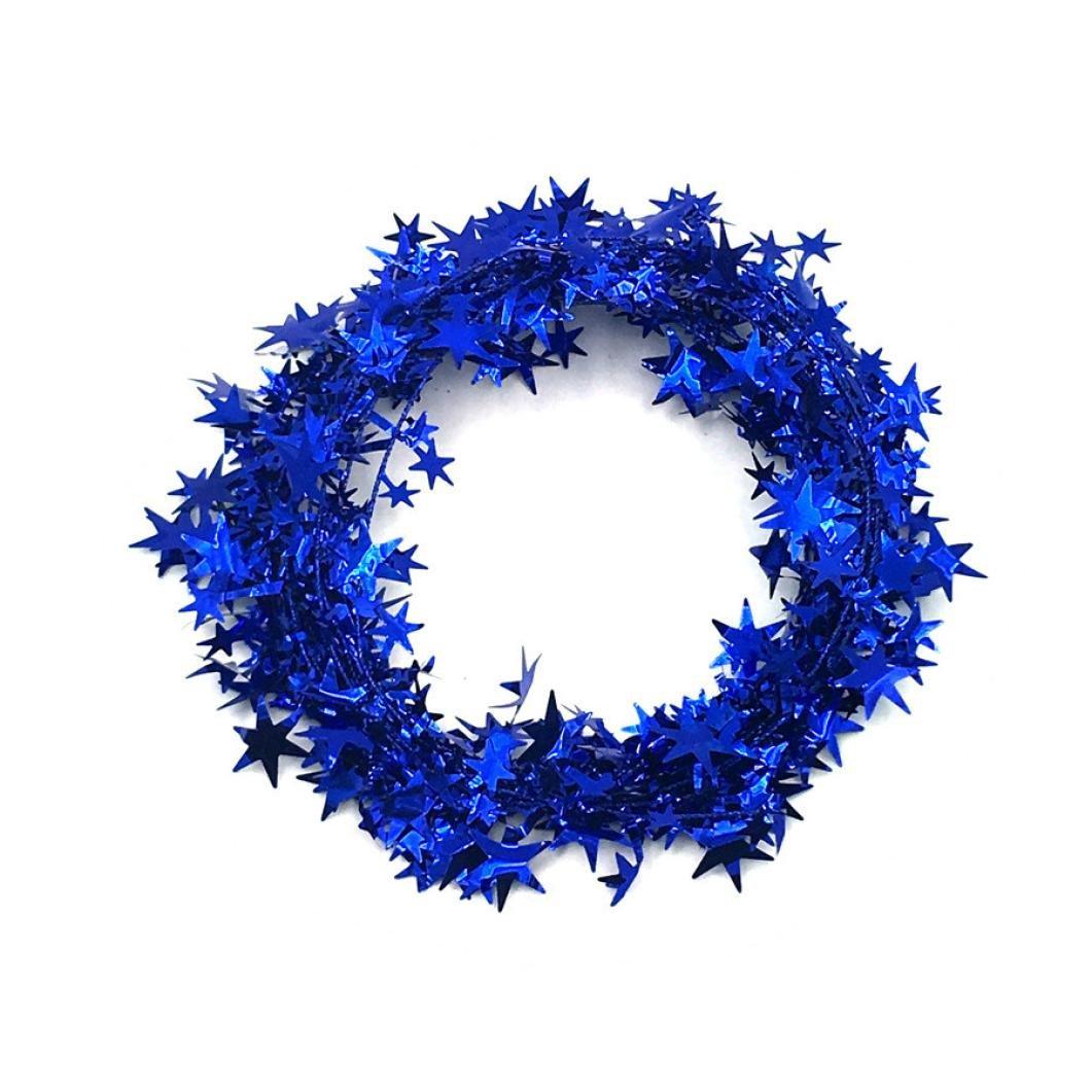 Christmas Party Xmas Tree Ornaments 5m Tinsel Hanging Decorations, LLguz Happy Christmas Xmas Home Decoration Gifts (Blue)