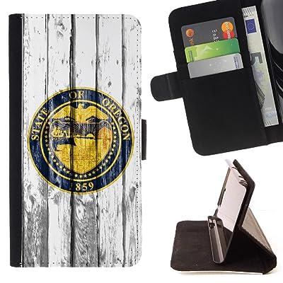 FJCases Oregon Emblema The Beaver State Patrón de Madera Carcasa Funda Billetera con Ranuras para Tarjetas y Soporte Plegable para Sony Xperia L1