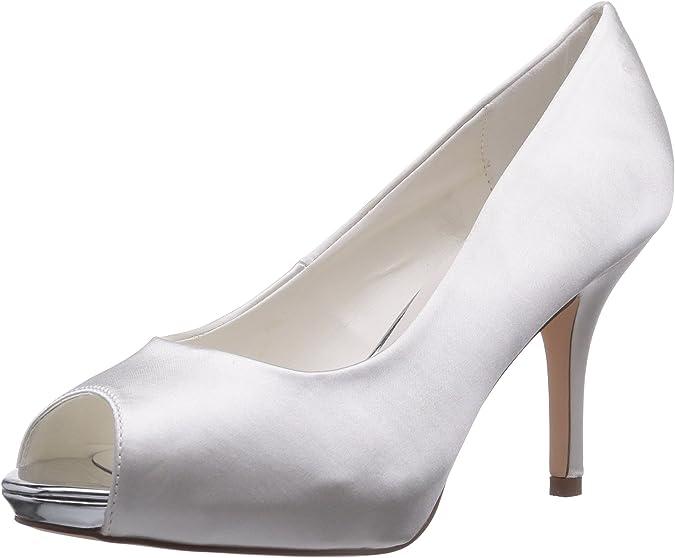 TALLA 40 EU. Menbur Wedding Amalia - Zapatos de tacón con Punta Descubierta de Raso Mujer