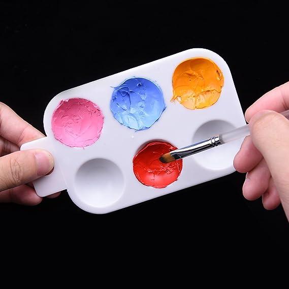 10 Pi/èces Palette Plastique Peinture Plateau Palette dHuiles avec Manche /à Main 6 Puits Rectangulaire Blanc