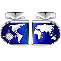 HONEY BEAR World Map Cufflinks - Stainless Steel for Men's Shirt Wedding Business Gift Blue