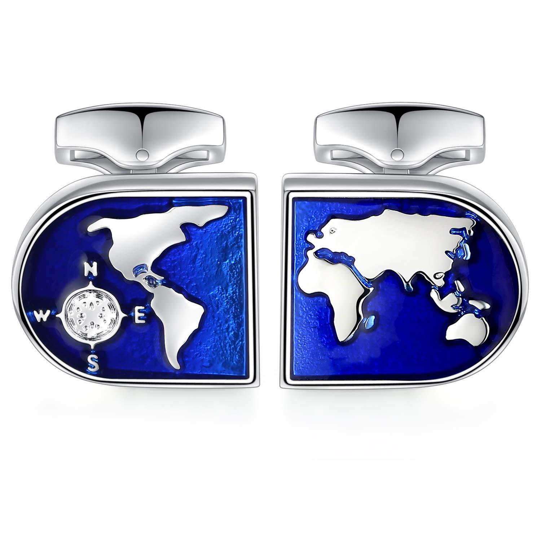 HONEY BEAR Carte du monde Boutons de Manchette,pour la chemise des hommes acier inoxydable pour le cadeau de mariage daffaires,Bleu