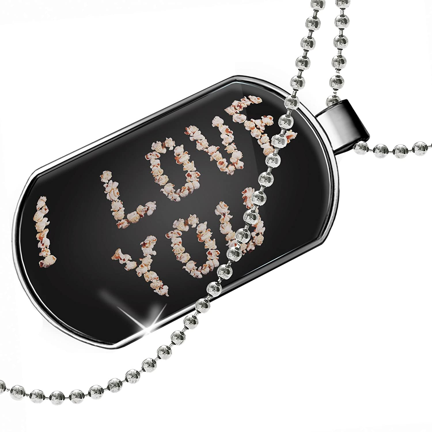 NEONBLOND Personalized Name Engraved I Love You Popcorn Movies Dogtag Necklace
