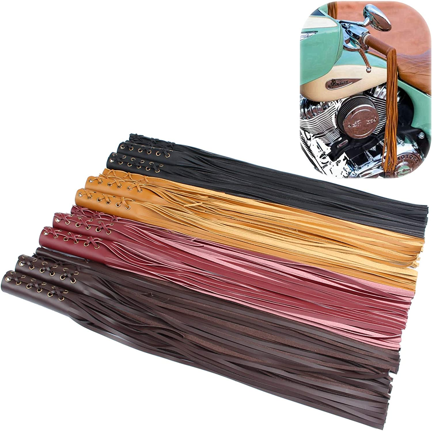 7//8 Motorcycle Grips Leather Fringe Lever Grip Covers for Cruiser Chopper Bobber Chief Vintage Classic Cafe Racer Universal