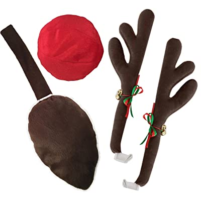 Kovot Reindeer Car Set: Includes Car Jingle Bell Antlers Antlers, Nose, and Tail for The Trunk (Standard Set): Automotive