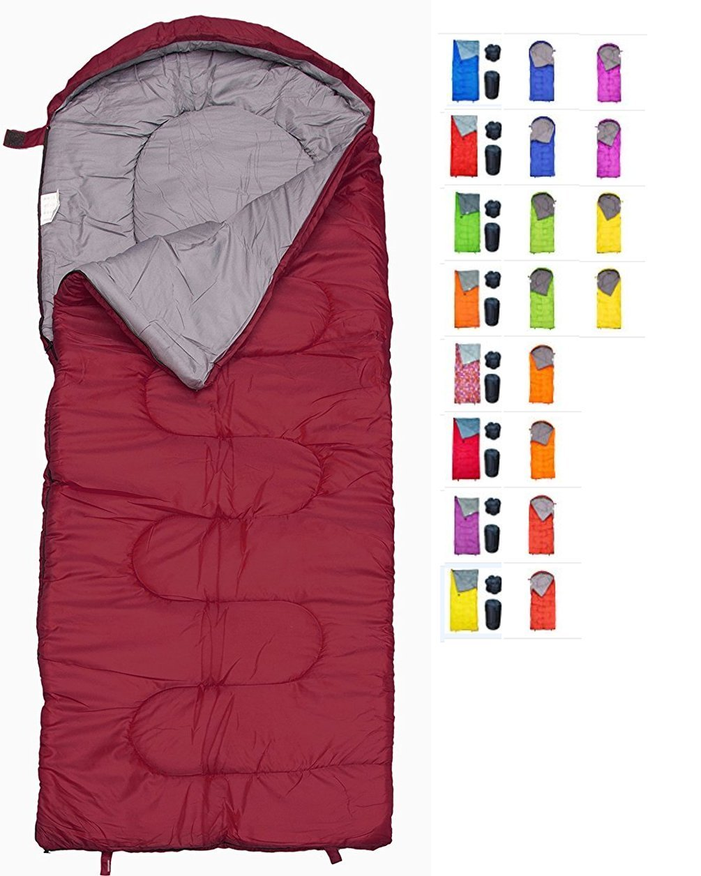 REVALCAMP Sleeping Bag for Cold Weather - 4 Season Envelope Shape Bags by Great for Kids, Teens & Adults. Warm and Lightweight - Perfect for Hiking, Backpacking & Camping (Bordeaux - Right Zip)